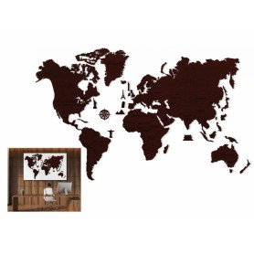 Drewniane puzzle 3D Wooden.City Mapa Świata XXL Dark Oak T1