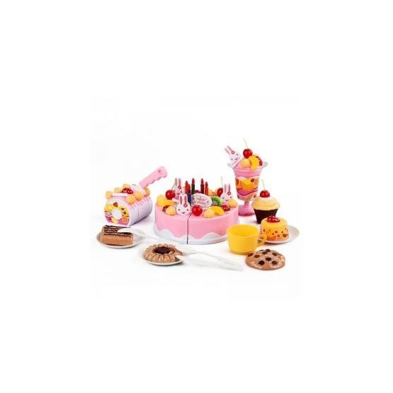 Tort urodzinowy do krojenia, kuchnia - 75 el. różowy E1