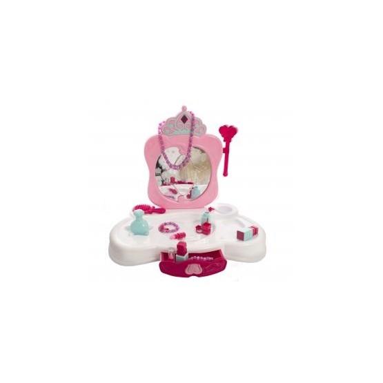 Toaletka różowa ze światłami i z lustrem E1