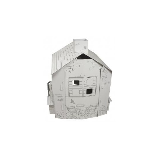 Tekturowy duży domek do malowania i zabawy E1