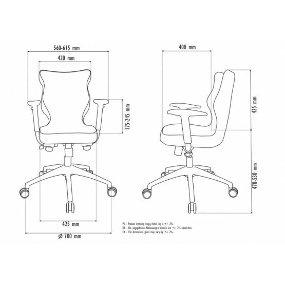 Krzesło obrotowe Deco Prestiż–roz.6,stel. poler antracyt R1