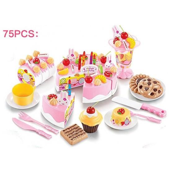 Tort urodzinowy do krojenia, kuchnia 75 el. niebieski E1