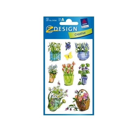 Plakietki samoprzylepne do ozdabiania i zabawy - Kwiaty
