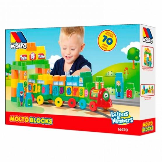 Pociąg z literkami i cyferkami Molto Blocks 70 el. S1